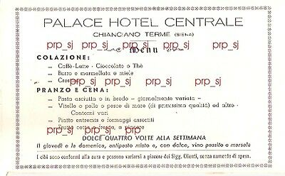 MENù CHIANCIANO TERME PALACE HOTEL CENTRALE 1950