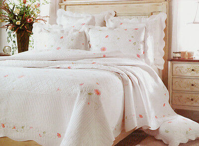 Twin Quilt Set Embroidery Floral Pink Petal-*Last One*