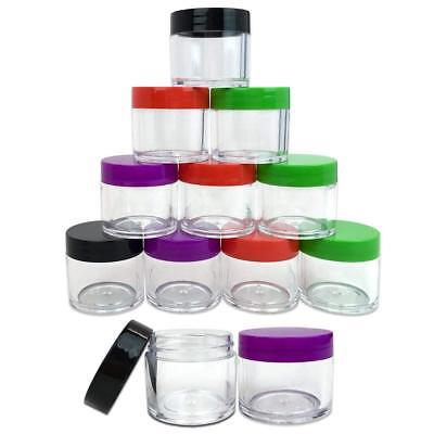 12 pcs 30g / 30 gram Large empty clear plastic cream makeup Jar 4 color lid