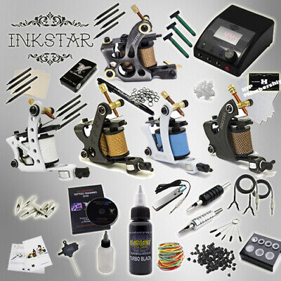 Complete Tattoo Kit Professional Inkstar 5 Machine Ace Set GUN Radiant Black Ink