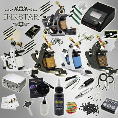 Complete Tattoo Kit Professional Inkstar 5 Machine Ace & CASE Set GUN Black Ink