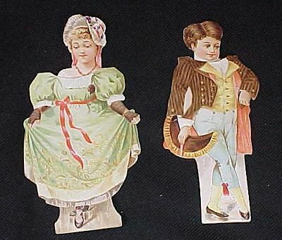 2 Clark's Spool Cotton Man Woman Paper Dolls Minuet Series Clarks