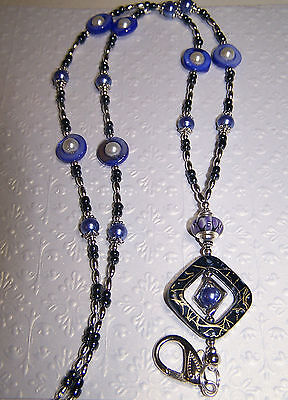 Lavender Mother of Pearl with Murano and Pearl Beaded Necklace Lanyard  ID Badge