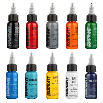 RADIANT COLORS 10 Color Tattoo Ink Set 1oz Bottles Kit Pigment MADE IN USA