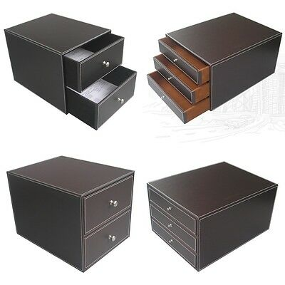 Classic Leather Wooden Structure Home Office Desk Organizer Files Filing Drawer