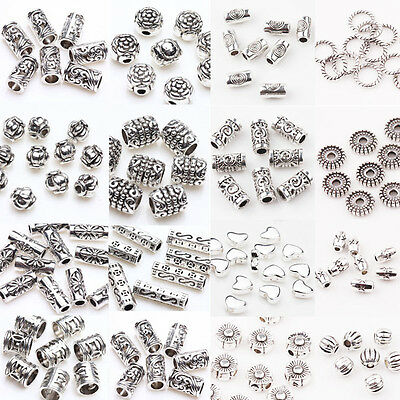 Lots 50/100Pc Tibet Silver Loose Spacer Beads Charms Jewelry Findings DIY U Pick