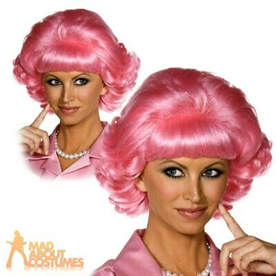 Frenchy Pink Wig Official Licensed Grease 50s Frenchie Womens Fancy Dress New
