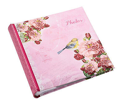 Large Pink Vintage Bird Memo Photo Album Slip Case 6x4'' Holds 200 Photos -PK200