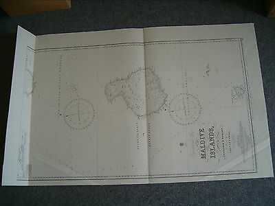 Vintage Admiralty Chart 66c MALDIVE ISLANDS - SHEET 3 1918 edn