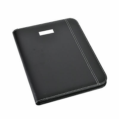 A4 Conference Folder Zipped Leather Look Portfolio with Pad,Calculator -CL-775