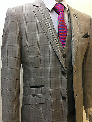 Designer Mens Checked Vintage 3 Piece Suit Blazer JacketTailored Fit prince suit