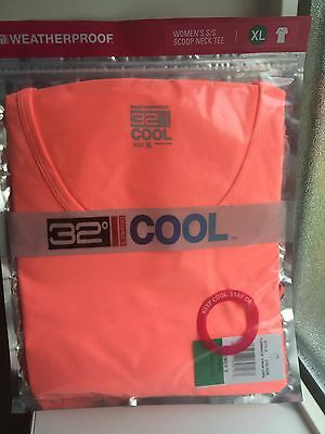 Womens 32 Degrees Weatherproof Cool Neon Coral T-Shirt Rrp £15-20 Bnwt
