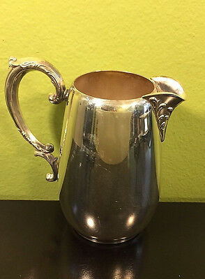 "Antique Vtg Wm Rogers 7"" Tall Silver Plated Water Milk Pitcher W/Leaf Scrolling"