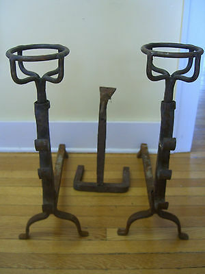 Antique Hand Wrought Iron Fireplace Andirons with adjustable cross bar & other