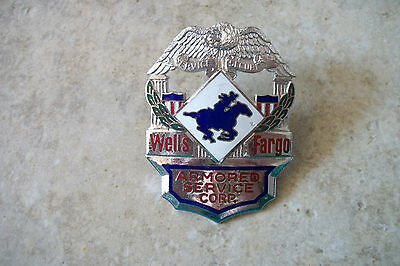 vintage 1950 Wells Fargo Armored Car Service hat badge pin trucking driver cap