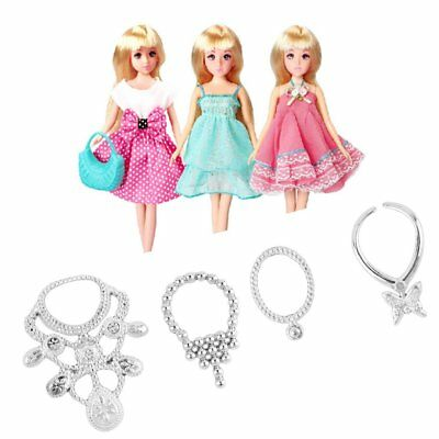 6pcs Fashion Plastic Chain Necklace For Barbie Doll Party Accessories SN