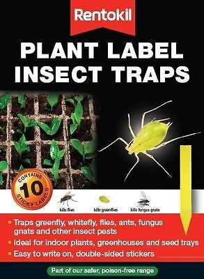 10 x Rentokil Plant Pot Sticky Labels Fly Ant Whitefly Greenfly Insect Trap