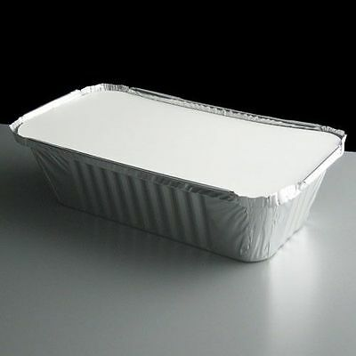 50 Silver Aluminium Foil Containers & Lids Size 6a Trays Takeaway Indian Chinese