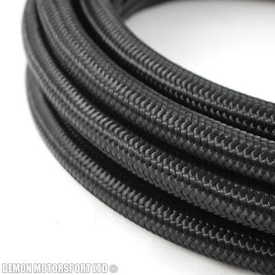 1 Metre AN10 -10 AN Black Nylon Braided Fuel Oil Hose 14mm ID Internal Diametre