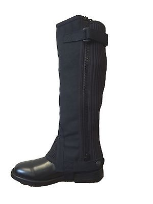 ADULT RIDING HALF CHAPS/GAITERS AMARA SUEDE BLACK ALL SIZES ref trw