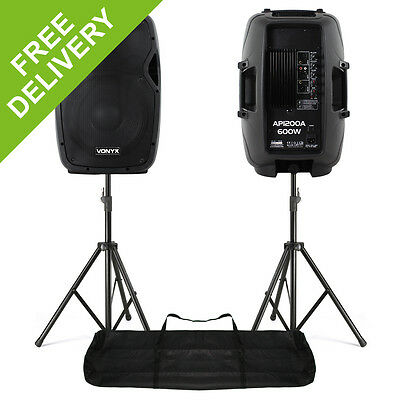 "2x Vonyx AP1200A Active 12"" Inch DJ Disco PA Speakers + Stands - 1200W Max Kit"