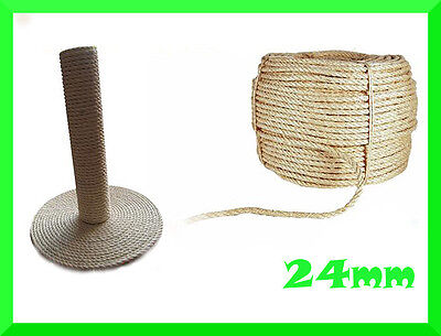 24mm Natural Sisal Rope Twisted Braided,Decking,Garden,Cat Scratching Post,Craft