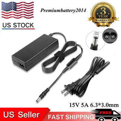 Power Supply/Charger Cord for Toshiba Laptop 15V 5A Battery AC Adapter Cord