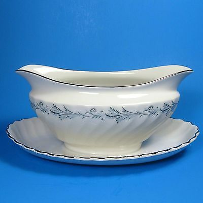 Syracuse China Silhouette SONATA Gravy Boat with Attached Underplate USA