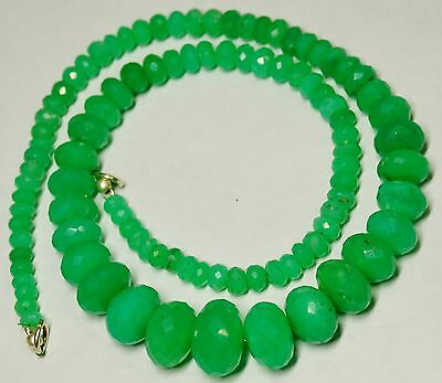 """211 Cts. 17"""" 4-14 Mm Ultimate Quality Micro Faceted Chrysoprase Beaded Necklace"""