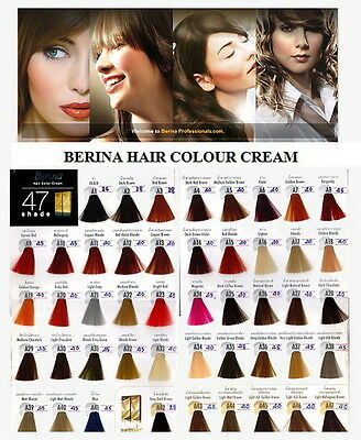 BERINA Hair Style Dye 47 Color Shade Cream Permanent Fashion Professional Use