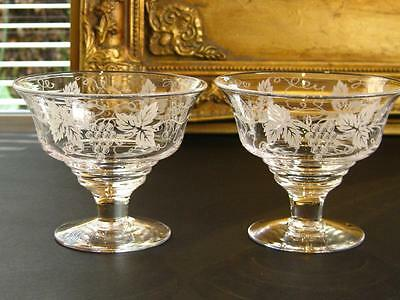 "Pair of charming vintage STUART CRYSTAL ""Vine pattern"" bowls, flared rim."
