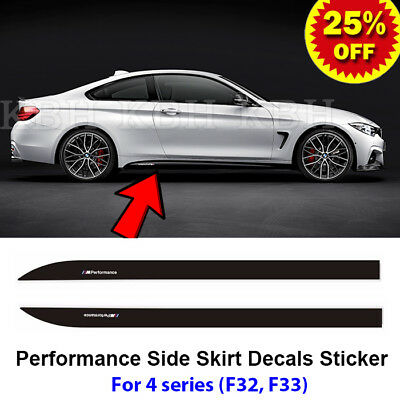 2pcs M Performance Side Skirt Sill Decal Vinyl Sticker for BMW 4 Series F32 F33