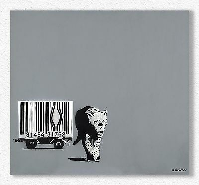 Banksy  Barcode Leopard   84x91 cm   STAMPA TELA CANVAS PRINT TOILE LIENZO
