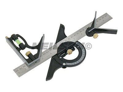 """12"""" Combination Square Angle Finder Protractor Level Builders Measuring Tool"""