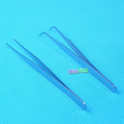 Tweezers Steel Tool Nail Curved Art Stainless ( 2 PcS ) Straight WFEU