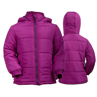 New Young Girls Pink Puffer Hooded Padded Jacket  Age 4 5 6 7 8 9 10 11 12 14 15