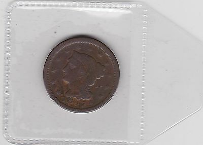 Usa 1847 Large One Cent In A Well Used Fair Condition