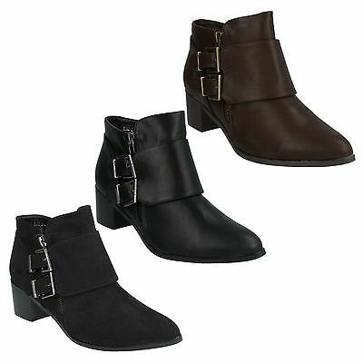 WOMENS LADIES SPOT ON ZIP BLOCK HEEL BUCKLE SHOES WINTER ANKLE BOOTS SIZE F5947