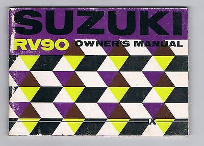 Suzuki Rv 90 K Owners Manual Excellent Condition Printed August 1972
