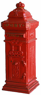 CAST IRON Tall Boy Post Mail Letter Box BEAUTIFUL Quality Red (Black Avail) 1m