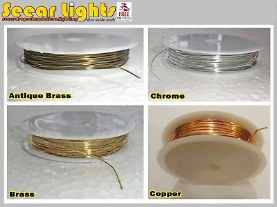 6M Reel Of Chandelier Wire Light Parts Links Prism Crystals Droplets Glass Drops
