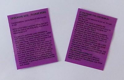 2 x Purple laminated geocache instructions for muggles.  Geocaching.  Cache  GPS