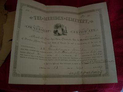 1884 Meridan Cemetery Ownership Certificate