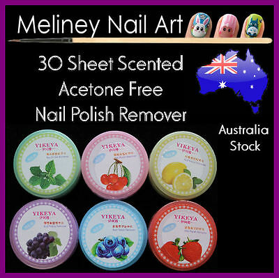 30 sheet scented acetone free nail polish remover pads wet wipes nail art tool