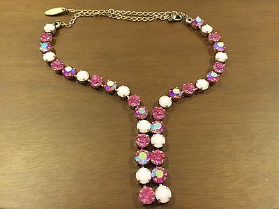Silver 975 Necklace Played With Yellow Gold, Set With Pinkish Swarovski Stones