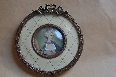 Antique Celluloid Portrait Metal Frame Ornate Young Lady Handpainted