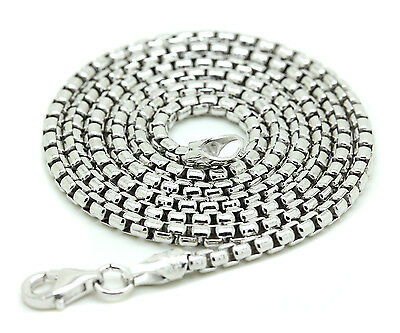 White 925 Sterling Silver Round Box Chain Italy Necklace Mens Link 20-30In 2.7mm
