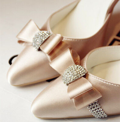 Real silk satin crystal lace Wedding shoes flats low heel pumps Bridal size 5-12