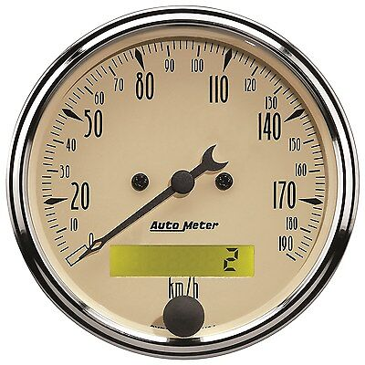 "Autometer Antique Beige Speedo Electric Programmable 3.1/8"" 0-190 Kph - Au1887-M"