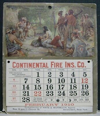 1910 Continental Fire Insurance Co. Calendar - Amsterdam, NY